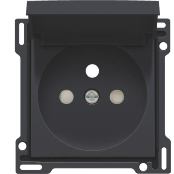 Afwerkingsset voor stopcontact met klapdeksel, penaarde en beschermingsafsluiters, inbouwdiepte 28,5 mm, anthracite