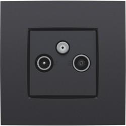 Afwerkingsset voor 2 enkelvoudige coaxaansluitingen voor tv en FM en een satellietaansluiting, anthracite  Niko
