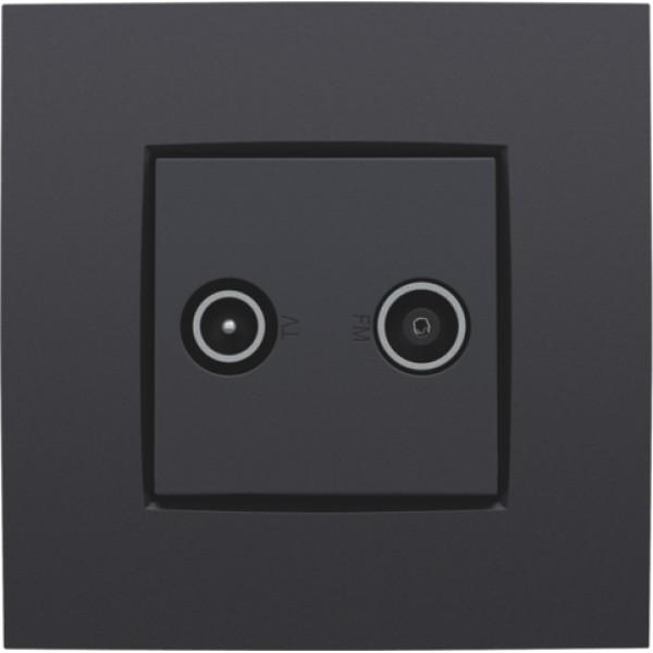 Afwerkingsset voor 2 enkelvoudige coaxaansluitingen voor tv en FM Telenet Interkabel, anthracite