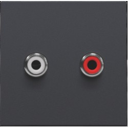 Afwerkingsset met 2 cinch-audioaansluitingen, ook voor inbouw in installatiekanalen, anthracite  Niko