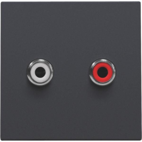 Afwerkingsset met 2 cinch-audioaansluitingen, ook voor inbouw in installatiekanalen, anthracite