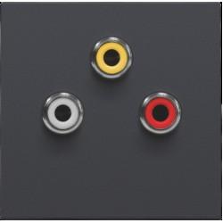 Afwerkingsset met 3 cinch-aansluitingen, ook voor inbouw in installatiekanalen, anthracite  Niko