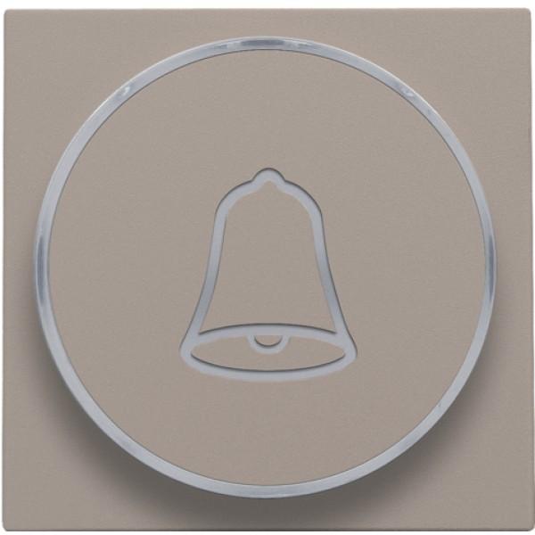 Afwerkingsset met doorschijnende ring met belsymbool voor drukknop 6 A met amberkleurige led met E10-lampvoet, bronze