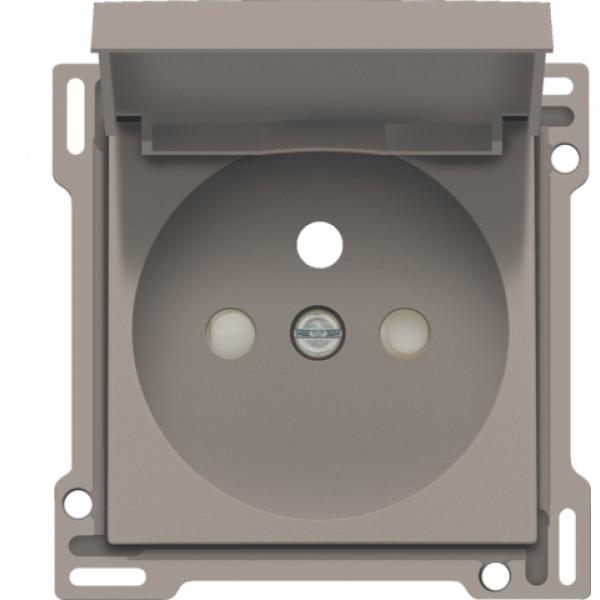 Afwerkingsset voor stopcontact met klapdeksel, penaarde en beschermingsafsluiters, inbouwdiepte 28,5 mm, bronze