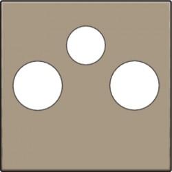 Afwerkingsset voor 2 enkelvoudige coaxaansluitingen voor tv en FM en een satellietaansluiting, bronze  Niko