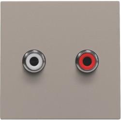 Afwerkingsset met 2 cinch-audioaansluitingen, ook voor inbouw in installatiekanalen, bronze  Niko