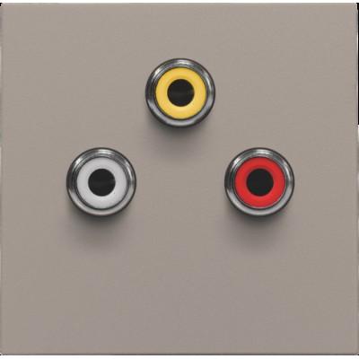Afwerkingsset met 3 cinch-aansluitingen, ook voor inbouw in installatiekanalen, bronze  Niko