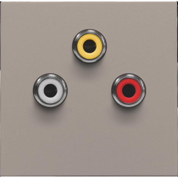 Afwerkingsset met 3 cinch-aansluitingen, ook voor inbouw in installatiekanalen, bronze