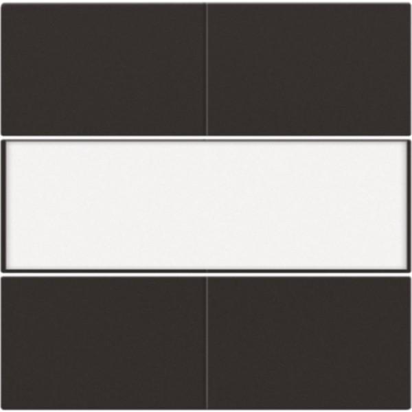 Afwerkingsset voor 4-voudige potentiaalvrije drukknop 24 V met tekstveld, dark brown