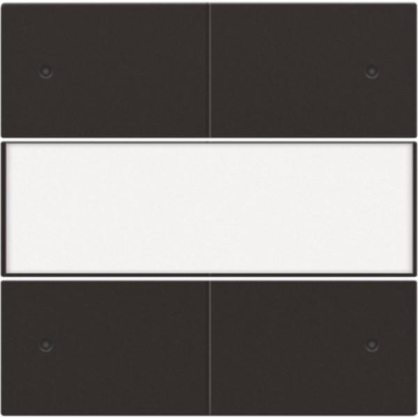 Afwerkingsset voor 4-voudige potentiaalvrije drukknop 24 V met led en tekstveld, dark brown