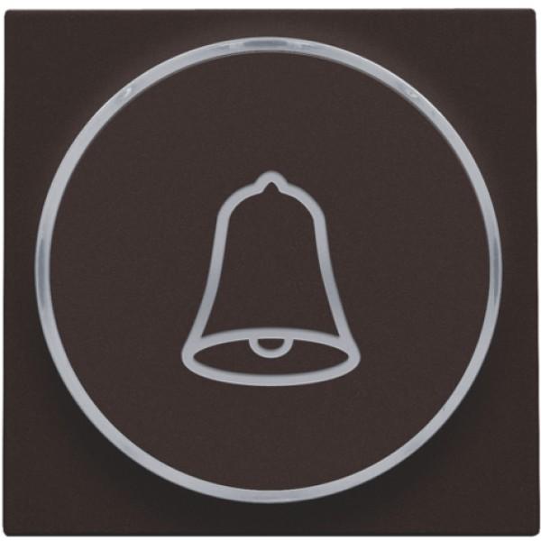Afwerkingsset met doorschijnende ring met belsymbool voor drukknop 6 A met amberkleurige led met E10-lampvoet, dark brown