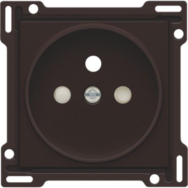 Afwerkingsset voor stopcontact met penaarde en beschermingsafsluiters, inbouwdiepte 21 mm, dark brown