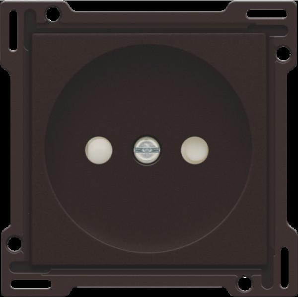 Afwerkingsset voor stopcontact zonder aarding met beschermingsafsluiters, inbouwdiepte 21 mm, dark brown