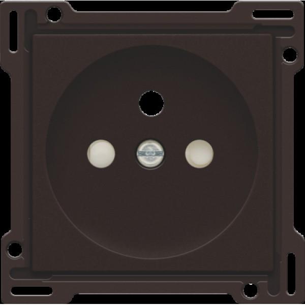 Afwerkingsset voor stopcontact met penaarde en beschermingsafsluiters, inbouwdiepte 28,5 mm, dark brown