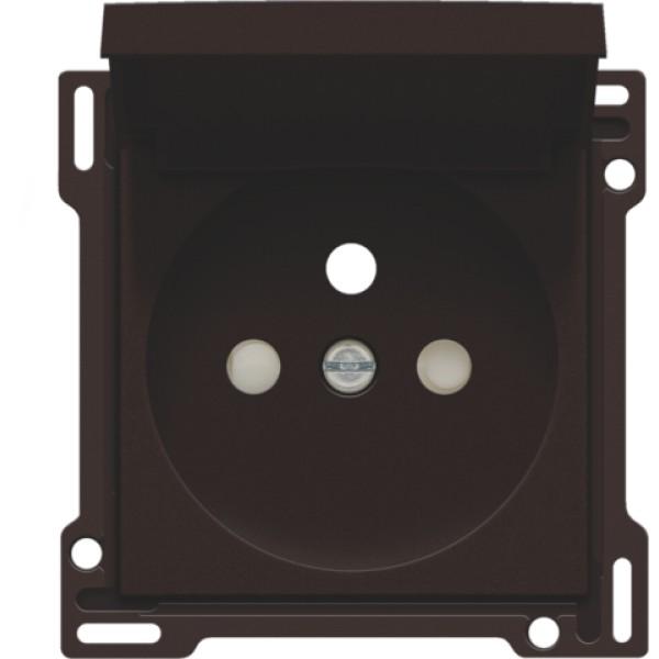 Afwerkingsset voor stopcontact met klapdeksel, penaarde en beschermingsafsluiters, inbouwdiepte 28,5 mm, dark brown