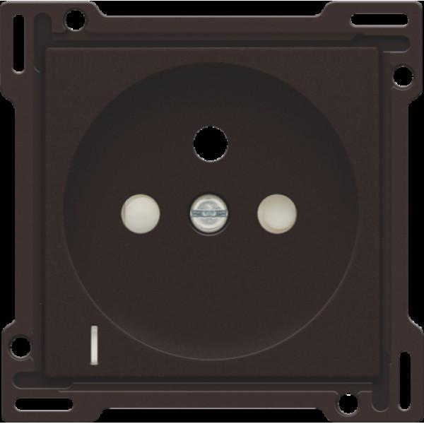 Afwerkingsset met doorschijnende lens voor stopcontact met spanningsaanduiding, penaarde en beschermingsafsluiters, inbouwdiepte 28,5 mm, dark brown
