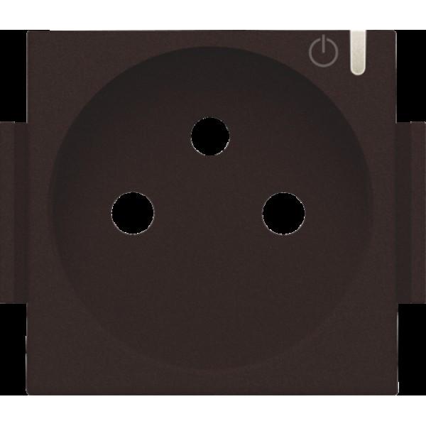 Afwerkingsset voor geconnecteerde schakelbare wandcontactdoos met penaarde en bedieningsknop, dark brown