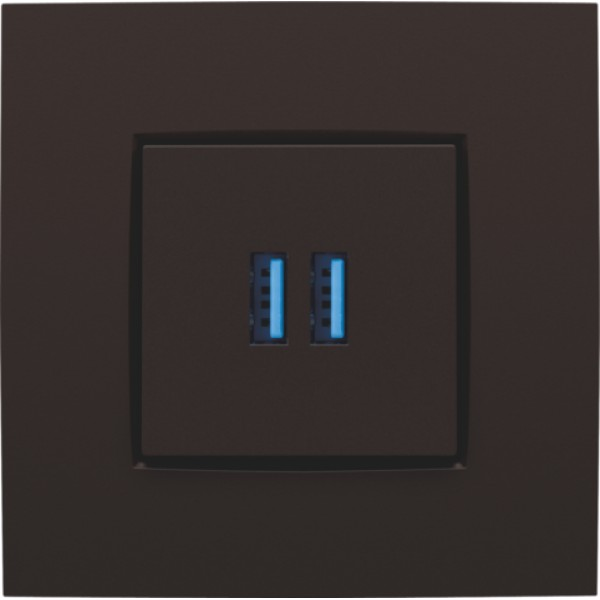 Afwerkingsset voor dubbele USB-A-lader, dark brown