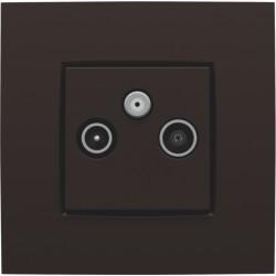Afwerkingsset voor 2 enkelvoudige coaxaansluitingen voor tv en FM en een satellietaansluiting, dark brown  Niko
