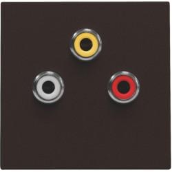 Afwerkingsset met 3 cinch-aansluitingen, ook voor inbouw in installatiekanalen, dark brown  Niko
