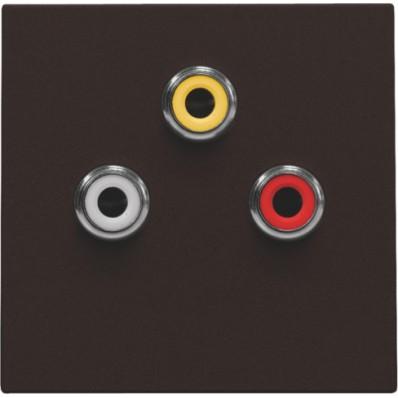 Afwerkingsset met 3 cinch-aansluitingen, ook voor inbouw in installatiekanalen, dark brown