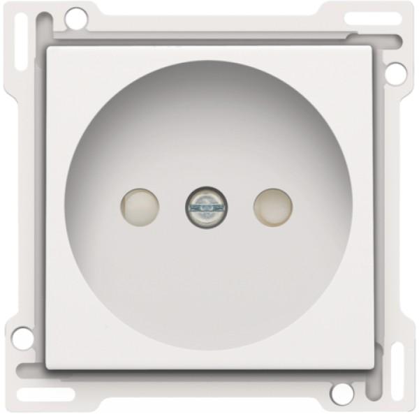 Afwerkingsset voor stopcontact zonder aarding met beschermingsafsluiters, inbouwdiepte 21 mm, white coated