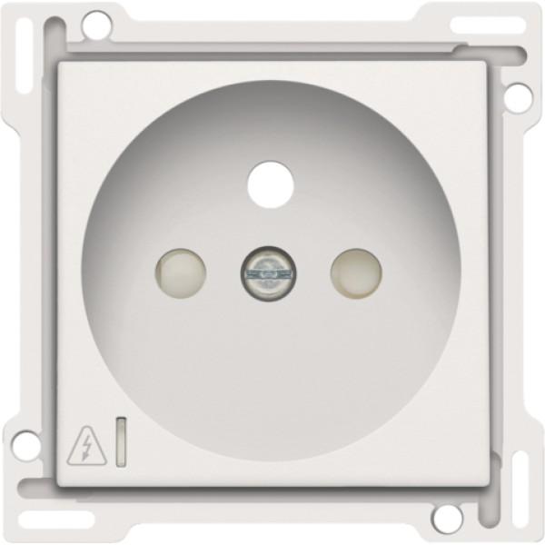 Afwerkingsset voor stopcontact met overspanningsbeveiliging, penaarde en beschermingsafsluiters, inbouwdiepte 28,5 mm, incl. overspanningsmodule met rode led, white coated