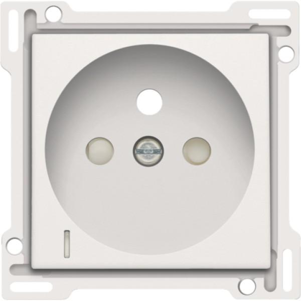 Afwerkingsset met doorschijnende lens voor stopcontact met spanningsaanduiding, penaarde en beschermingsafsluiters, inbouwdiepte 28,5 mm, white coated