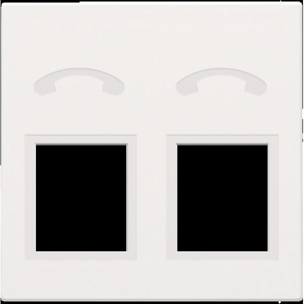 Afwerkingsset voor telefooncontactdoos met 2 RJ11-contacten in parallel, white coated