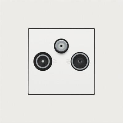Afwerkingsset voor 2 enkelvoudige coaxaansluitingen voor tv en FM en een satellietaansluiting, white coated  Niko