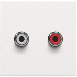 Afwerkingsset met 2 cinch-audioaansluitingen, ook voor inbouw in installatiekanalen, white coated  Niko