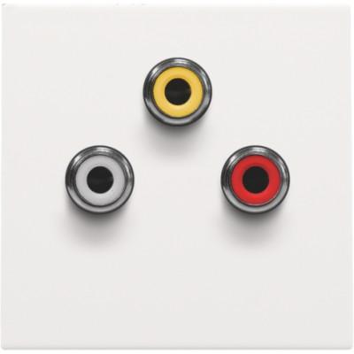 Afwerkingsset met 3 cinch-aansluitingen, ook voor inbouw in installatiekanalen, white coated  Niko