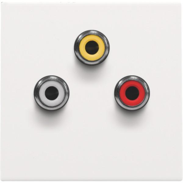 Afwerkingsset met 3 cinch-aansluitingen, ook voor inbouw in installatiekanalen, white coated