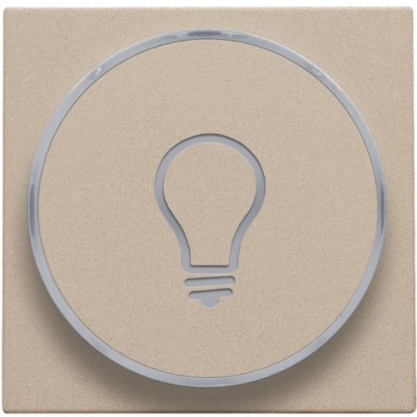 Afwerkingsset met doorschijnende ring met lampsymbool voor drukknop 6A met amberkleurige led met E10-lampvoet, champagne coated