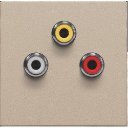 Afwerkingsset met 3 cinch-aansluitingen, ook voor inbouw in installatiekanalen, champagne coated  Niko