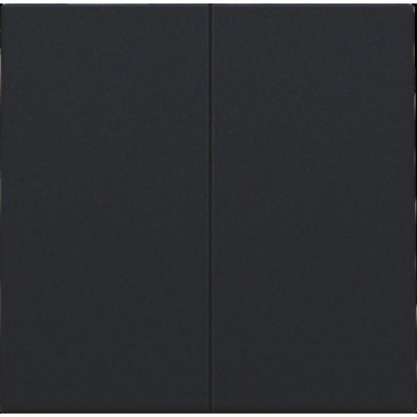 Afwerkingsset voor dubbele elektronische schakelaar of drukknop, black coated