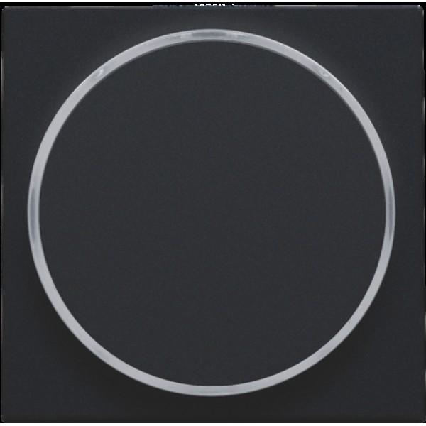 Afwerkingsset met doorschijnende ring zonder symbool voor drukknop 6 A met amberkleurige led met E10-lampvoet, black coated