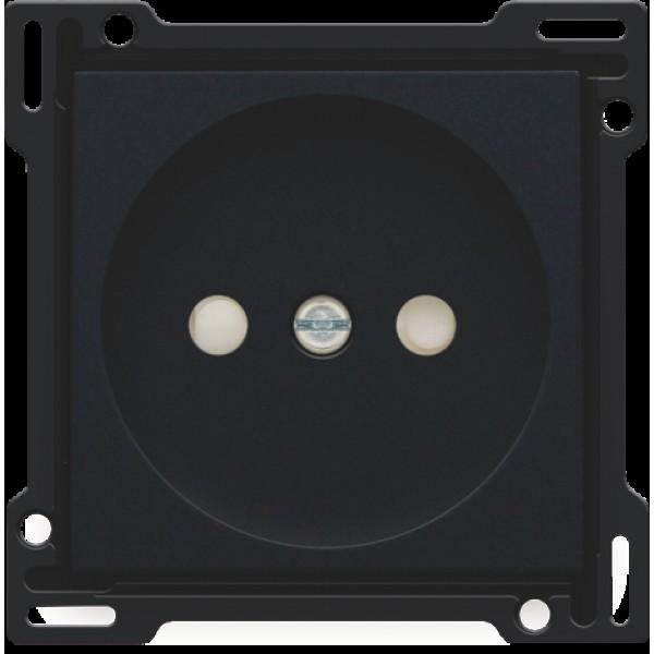 Afwerkingsset voor stopcontact zonder aarding met beschermingsafsluiters, inbouwdiepte 21 mm, black coated