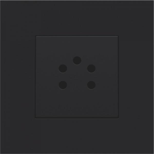 Afwerkingsset voor 5-polige telefooncontactdoos, black coated