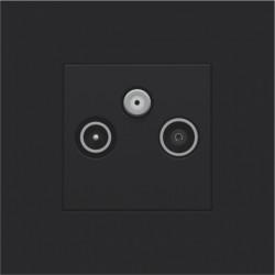 Afwerkingsset voor 2 enkelvoudige coaxaansluitingen voor tv en FM en een satellietaansluiting, black coated  Niko