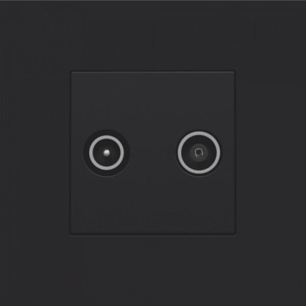 Afwerkingsset voor 2 enkelvoudige coaxaansluitingen voor tv en FM Telenet Interkabel, black coated