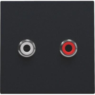 Afwerkingsset met 2 cinch-audioaansluitingen, ook voor inbouw in installatiekanalen, black coated  Niko