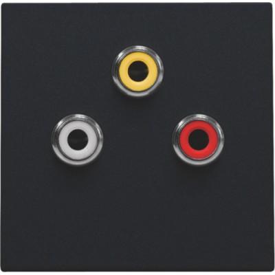 Afwerkingsset met 3 cinch-aansluitingen, ook voor inbouw in installatiekanalen, black coated  Niko