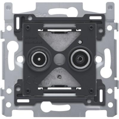 Sokkel voor 2x enkelvoudige coaxaansluiting voor tv en FM Telenet Interkabel, klauwbevestiging  Niko