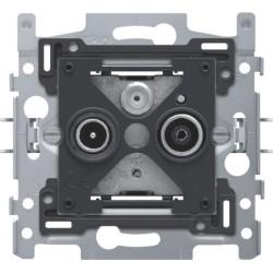 Sokkel voor 2x enkelvoudige coaxaansluiting voor tv en FM en een satellietaansluiting, klauwbevestiging  Niko