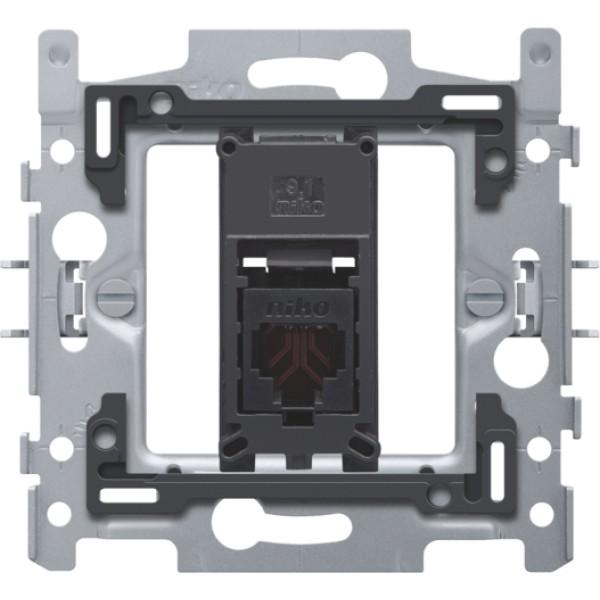 1 RJ11-aansluiting UTP, vlakke uitvoering, incl. inbouwraam 60 x 71 mm met klauwbevestiging