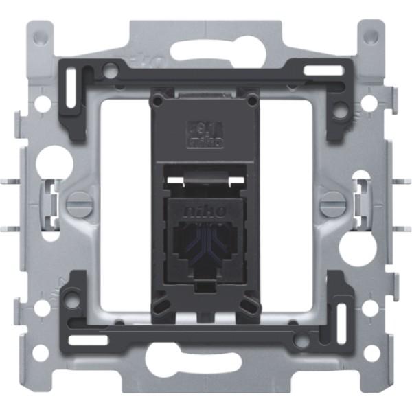 1 RJ45-aansluiting UTP cat. 6, vlakke uitvoering, incl. inbouwraam 60 x 71 mm met klauwbevestiging