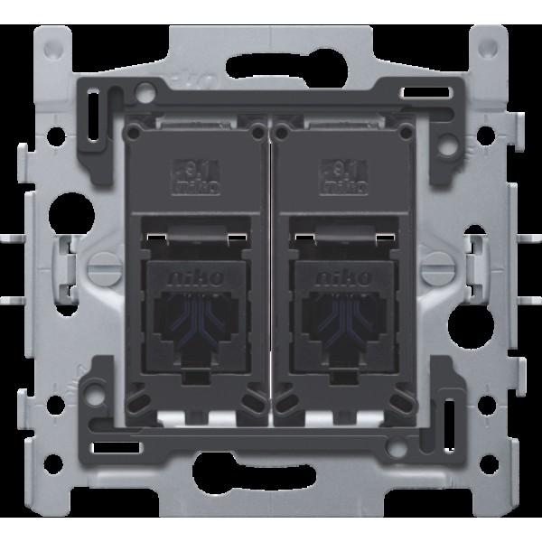 2 RJ45-aansluitingen UTP cat. 6, vlakke uitvoering, incl. inbouwraam 60 x 71 mm met klauwbevestiging