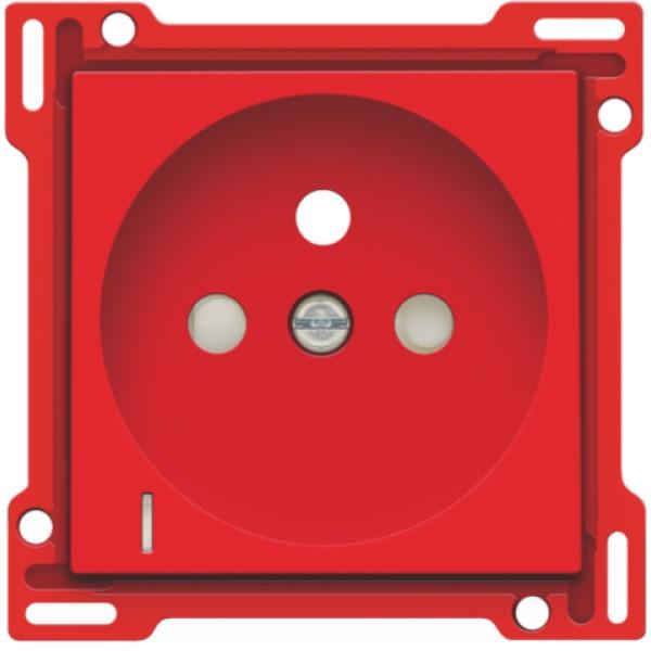Afwerkingsset met doorschijnende lens voor stopcontact met spanningsaanduiding, penaarde en beschermingsafsluiters, inbouwdiepte 28,5 mm, red