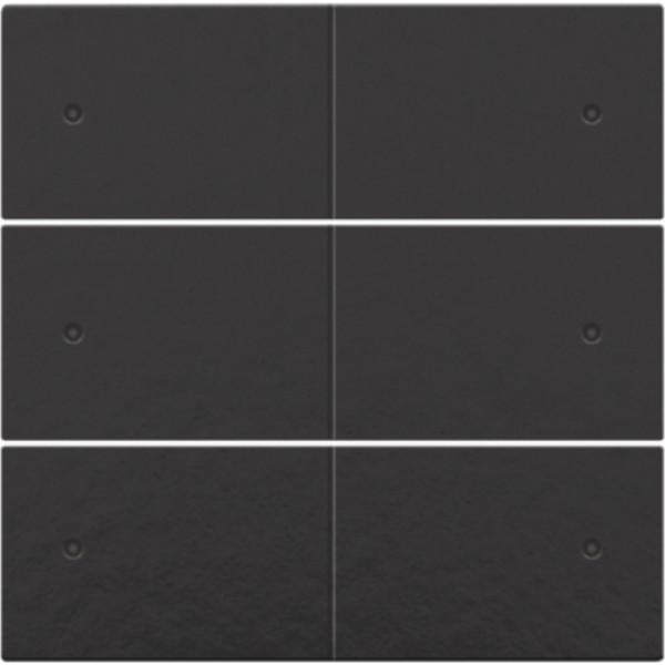 Afwerkingsset voor 6-voudige potentiaalvrije drukknop, 24 V, met leds, piano black coated